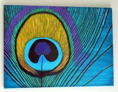 Peacock Feather Acrylic painting on Canvas by InspirationPlace, $110.00