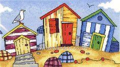 Buy Beach Huts Cross Stitch Kit Online at www.sewandso.co.uk