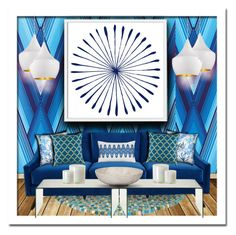 """""""Bright Blue"""" by suzanne228 ❤ liked on Polyvore featuring interior, interiors, interior design, home, home decor, interior decorating, Osborne & Little, Pillow Decor, West Elm and Noir"""