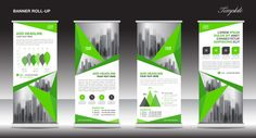 Roll up banner stand template design, Green banner layout, advertisement, Business flyer, polygon background
