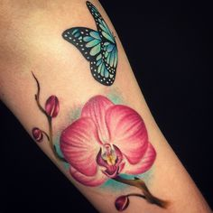 Today's orchid-fun!! By @missjoydewi #Tattoo #Tattoos #Ink #Inked #LadyTattooer #FlowerTattoo #ButterflyTattoo #OrchidTattoo #Cute #Fun #Love #Bliss #Joy #MissJoyD #MissJoyDewi #LowVoltageInk #LowVoltage #EternalInk #Neotat #NeotatVivace #Comforties