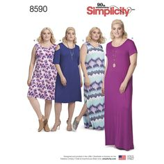 This easy to sew women's knit dress sized 1XL to 5XL has sleeve and length variations. Find the pattern at Simplicity.com.