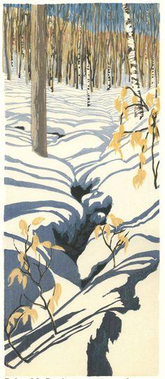 """""""Below Mt. Pemi"""" by Matt Brown, Woodblock Print Gravure Illustration, Illustration Art, Illustrations, Woodblock Print, Gravure Photo, Matt Brown, Claude Monet, Vincent Van Gogh, Landscape Art"""