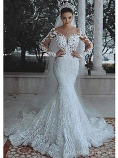 Scoop Wedding Dress, Cheap Lace Wedding Dresses, Mermaid Wedding Dress With Sleeves, Wedding Dresses 2018, Luxury Wedding Dress, Mermaid Dresses, Bridal Dresses, Prom Dresses, Queen Wedding Dress