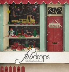 Christmas Shop Photography Backdrop  Photo Background *** 20% OFF YOUR FIRST ORDER *** http://www.fabbackdrops.com/photography-backdrop-coupons/