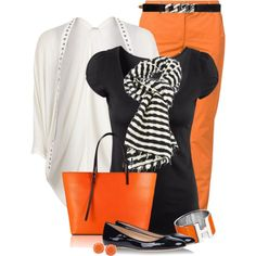 Orange chinos for a casual Monday, created by mommygerloff on Polyvore. This would be a fun outfit for Halloween with the black and white stripes and bright orange pants!