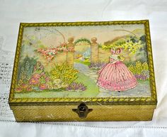Metal Tins, Vintage Tin Box, Sewing Box of Crinoline Lady - Bassett Sweets Tin from Sheffield England, Old Tins, Collectible Tin Storage Box