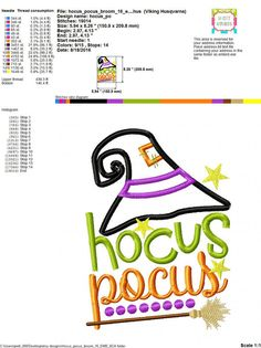 Embroidery design 5X7 6x10 hocus pocus by SoCuteAppliques on Etsy