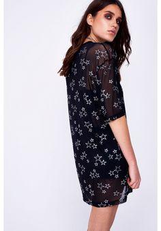 Glitter Star Mesh Oversized T-Shirt Dress