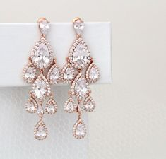 Rose Gold Chandelier earrings, Rose Gold Bridal earrings,  Wedding earrings…