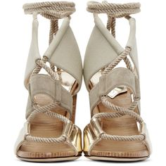Jimmy Choo Khaki Leather and Canvas Henni Heels ($735) ❤ liked on Polyvore featuring shoes, laced shoes, leather lace up shoes, genuine leather shoes, block heel shoes and canvas shoes