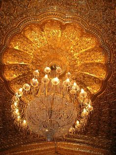 Golden Temple - The Interior! - Darbar Sahib (Golden Temple), Amritsar, Punjab, India One of the reasons why I love Indian fashion - Amritsar, Golden Temple, Gold Aesthetic, Chandelier Lamp, Bubble Chandelier, Pendant Lamps, Pendant Lights, Shades Of Gold, Belle Photo