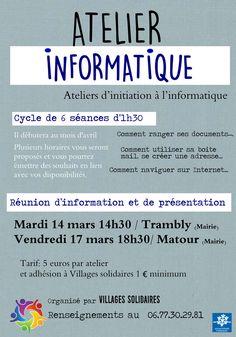 Réunion d'information sur les Ateliers d'initiation à l'informatique les 14 et 17 mars à Trambly et Matour : http://clun.yt/2lyRqb6 et http://clun.yt/2mL2lyD