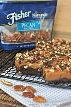 Turtle Brownies: fudgy, caramel brownies topped with pecans! #ThinkFisher