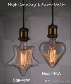 230V E27 40W Edison Incandescent Filament Light Retro Vintage Lamp Star/Heart Shape Bulb Warm White LED Edison Lights