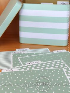 """Tin of Cards Project Kit. Includes instructions, printed tin and file tab dividers plus card bases, envelopes and accents for 16 cards, 4 each of 4 designs. Tin size: 6-3/4"""" x 4"""" x 5-3/8"""" (17.2 cm x 10.2 cm x 13.7 cm). Complete the kit using the Tin of Cards stamp set (stamps, ink and adhesive sold separately). www.creativestamping.co.nz 