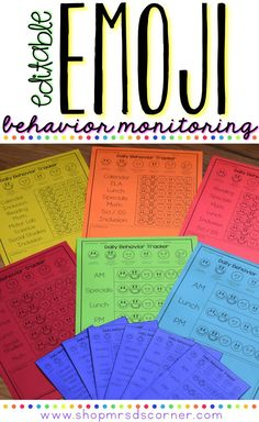 Editable emoji behavior monitoring forms to help track data and keep parents in the loop with how students are performing in the classroom each day. Only at Mrs. D's Corner.