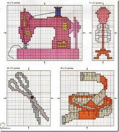 Máquinas de coser, tijeras, costura, motivos en punto de cruz | En ...