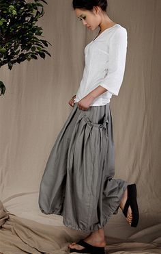 Diamonds/Womens Clothing Womens Skirt Casual Skirt Pleated Skirt Plus size Skirt Black Skirt Ankle Length Linen Long Handmade Skirt Mode Style, Style Me, Look Boho Chic, Boho Fashion, Womens Fashion, Fashion Design, Moda Chic, Look Vintage, Cool Outfits
