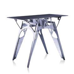 Amazon.com - Folditure Cricket Metal Modern Designer Table by Alexander Gendell, Folds Flat, Metallic, Silver - Tables