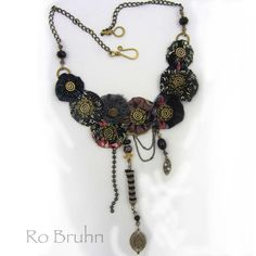 Necklace hand made fabric and brass necklace by robruhn on Etsy, $150.00