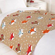 Dreamscene Woodland Fox Fleece Blanket, Brown, 120 x 150 Cm Bed Throws, Cosy, Home Furnishings, Woodland, Nursery, Kids Rugs, Warm, Blanket, Brown