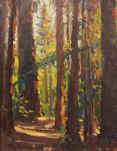 Big Sur Redwoods by Richard Oversmith Oil ~ 16 x 12