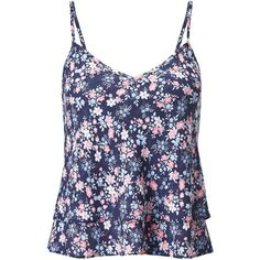 Miss Selfridge Petite Daisy Floral Print Cami, Mid Blue ($26) ❤ liked on Polyvore featuring petite, floral camisole, polyester camisole, v neck cami, petite camisole and v neck camisole