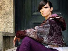 Plum shrug bolero batwing merino wool felt made by texturable, $345.00