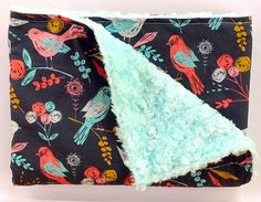 Baby Girl Minky Blanket-Spring birds-Navy Mint Teal Coral