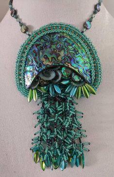JellyFish Pendant Full Necklace Bead Embroidery Kit | Etsy Embroidery Kits, Beaded Embroidery, Rings N Things, Shell Pendant, Jellyfish, Beaded Necklace, Beads, Medusa, Bead