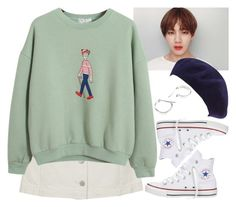 """In a coffee shop with Tae Hyung (BTS)"" by evil-maknae ❤ liked on Polyvore featuring Topshop, Chicnova Fashion, San Diego Hat Co., Converse and Repossi"