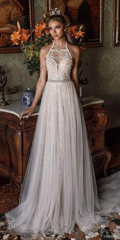 julie vino spring 2018 bridal sleeveless illusion halter neck sweetheart neckline romantic modified a line wedding dress open back chapel train (09) mv