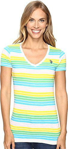 US POLO ASSN Womens Multi Stripe VNeck TShirt Sailing Yellow Shirt *** Click image to review more details.