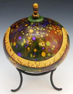 Purple Speckles With Jade And Tiger's Eye  Hand Carved and Painted Gourd  Height 10""