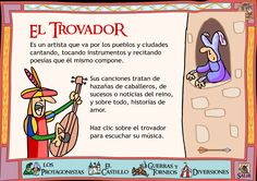 Trubador - this is in Spanish: need it translated, someone. Medieval World, Medieval Knight, Albert Schweitzer, Ap Spanish, Sistema Solar, Class Projects, History Books, Middle Ages, Social Studies