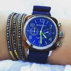 Blue like the sky or the sea? #mybriston #briston #watch #clubmaster classic acetate chronograph blue sunray dial