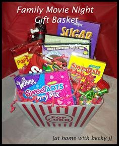 movie night gift basket- microwave popcorn/ popcorn seeds, assorted popcorn seasonings, chocolate ands sweets eg smarties,astro's, whispers etc ; Family Gift Baskets, Valentine Gift Baskets, Homemade Gift Baskets, Gift Baskets For Men, Valentines Day Gifts For Him, Homemade Gifts, Basket Gift, Diy Gifts