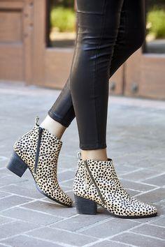 Asymmetrical zipper bootie in cheetah print haircalf | Sole Society Mira