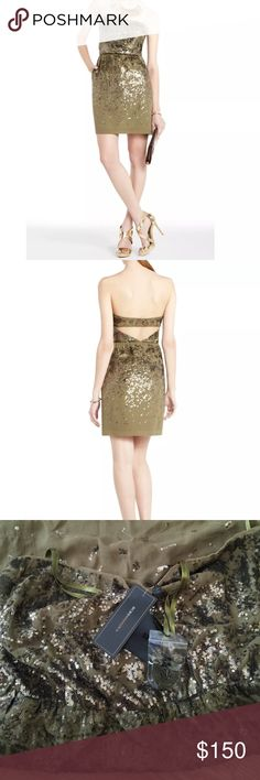 ⛄️SALE! BCBG MaxAzria Dress Brand new with tags. Sleeveless dress with a three hooks in the back. Sequined scattered about and elastic waist. Pockets ones each side. Extra straps included. Make me a reasonable offer BCBGMaxAzria Dresses Strapless