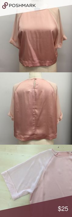 Chiffon Sleeve Raglan Top Chiffon sleeve raglan top with folded cuff. Color blocked with two dusty pink tones. Bundle up to save! Brand new with tag. No trades. Topshop Tops Blouses