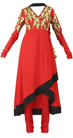 Red crepe angrakha with asymmetric hem. It comes with a black chiffon duputta, available only at Pernia's Pop Up Shop.