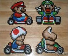does anyone else remember these bead things that you ironed? Pearler Bead Patterns, Perler Patterns, Pearler Beads, Fuse Beads, Cross Stitching, Cross Stitch Embroidery, Mario Crochet, Hama Beads Disney, Mario And Luigi