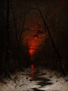 ▴ 𝖉𝖆𝖗𝖐 𝖆𝖗𝖙 ▴ — ─ Sunset over the Winter Forest by Heinrich. Winter Forest, Dark Forest, Dark Landscape, Fantasy Landscape, Arte Horror, Horror Art, Dark Fantasy Art, Dark Art, Arte Obscura