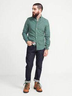 Gitman Vintage Green Corduroy Dots shirt. $150