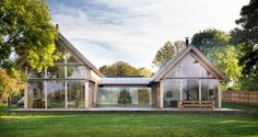 Lund, A stunning contemporary oak framed house by Roderick James Architects Oak Frame House, A Frame Cabin, Timber Architecture, Modern Barn House, Casa Real, Modern Farmhouse Exterior, Timber Frame Homes, Design Case, Exterior Design