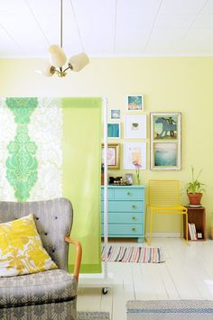 A few pieces of PVC pipe, a 1x10 board, casters, and a few yards of a pretty fabric (even easier: a thrifted sheet or curtain!) and you have a room divider.