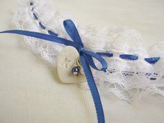 Monogrammed wedding garter  Something blue  by BABridalAccessories
