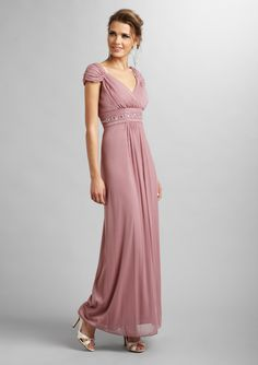 ALEX EVENINGS              Pleated Empire Waist Gown