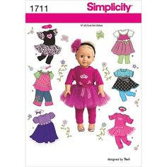 Simplicity 1711 Sewing Patterns 18-Inch Doll Clothes One Size Only Jumpers